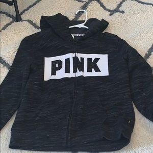 heather black pink zip up